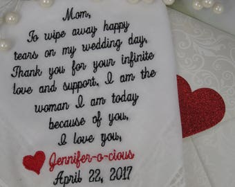 Wedding Handkerchief For Mom-Mom Handkerchief-Mother of the Bride Wedding Gift-Gift for Mom-Wedding Hankerchief Wedding Hanky Hankies Mother