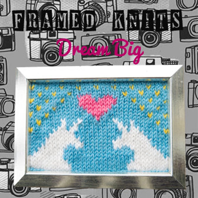 Dream Big Framed Knit  Unicorn Love Knitted Picture image 0