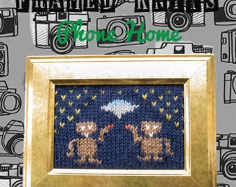 Phone Home Framed Knit - ET The Extra Terrestrial Knitted Picture