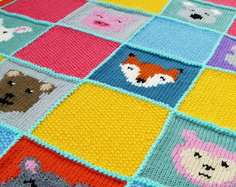 NEW! Digital Knitting Pattern: Animal Patchwork Blanket