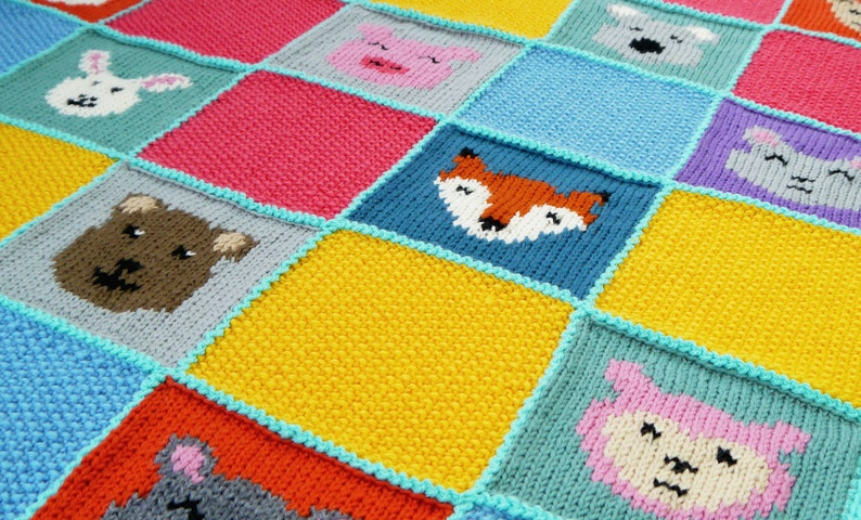 NEW Digital Knitting Pattern: Animal Patchwork Blanket image 0