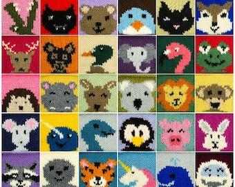 Digital Knitting Pattern: 30 Animal Squares