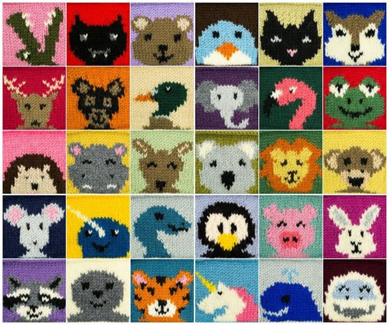Digital Knitting Pattern: 30 Animal Squares image 0