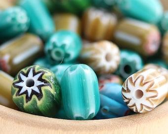 Vintage Glass Bead Mix - Italian Milliefiori Glass- 58 Beads