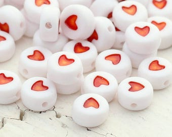 Acrylic Heart Beads - White and Red Heart Beads - 7mm - 100 beads