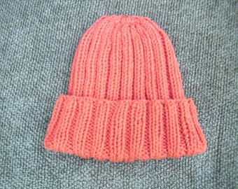 Knitted Orange / Tangerine Ribbed Hat