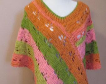 Crocheted Multicolored Striped Dragonfly Poncho / Orange / Pink /Green