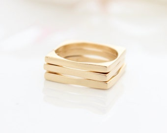 Square Gold Ring • Gold stacking rings