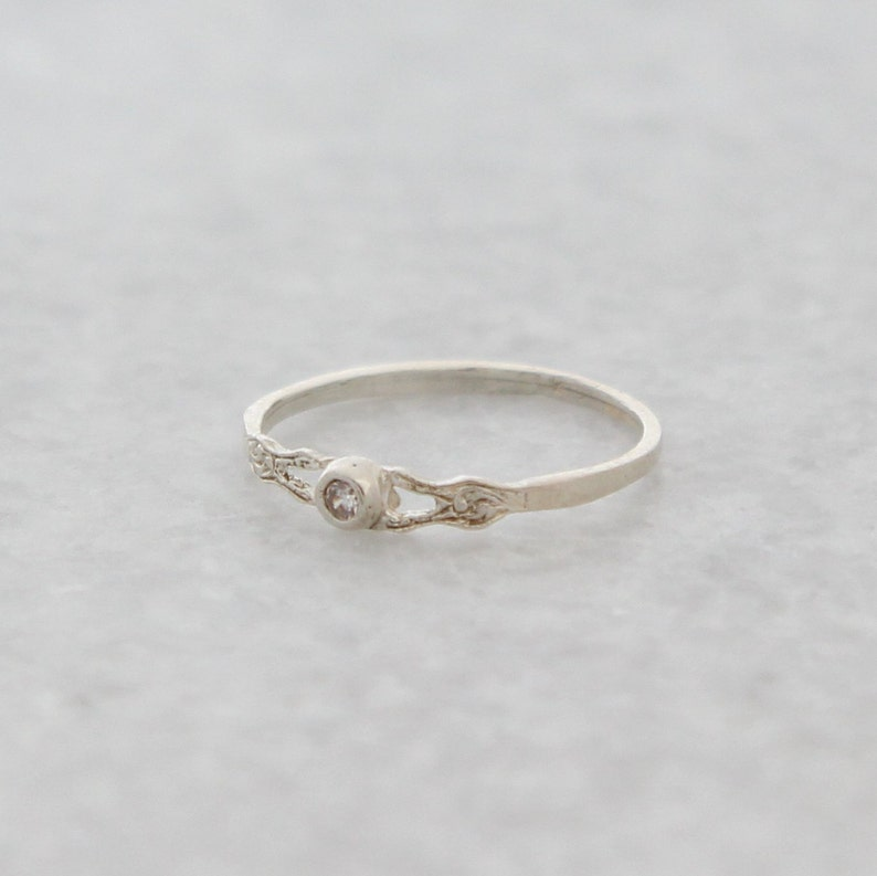 Promise ring Delicate silver ring Dainty Silver Ring Minimalist silver ring Silver ring with CZ Stackable ring Thin silver ring