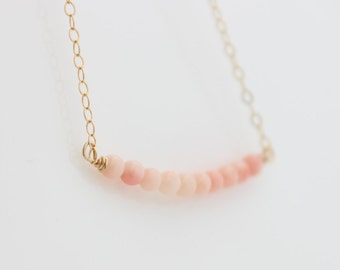 Coral Bar Necklace • Delicate gold necklace with pink coral gemstone bar