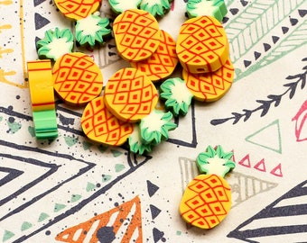 Pineapple Beads - 11pcs - Polymer Clay
