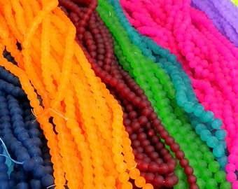 Frosted Beads, 1 Strand, 10mm