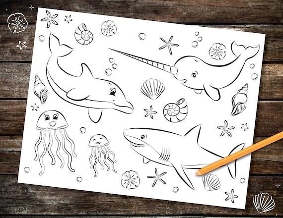 Sea Creatures Coloring Page