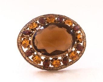 Vintage Gilt and Glass Brooch, Vintage Brooch, Orange Brooch, Amber Brooch, Orange Rhinestone Brooch