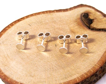 2 Pairs of Recycled Sterling Silver Disc Ear Studs, Disc Ear Studs Findings, Disc Ear Studs 4mm, 925 Disc Ear Studs