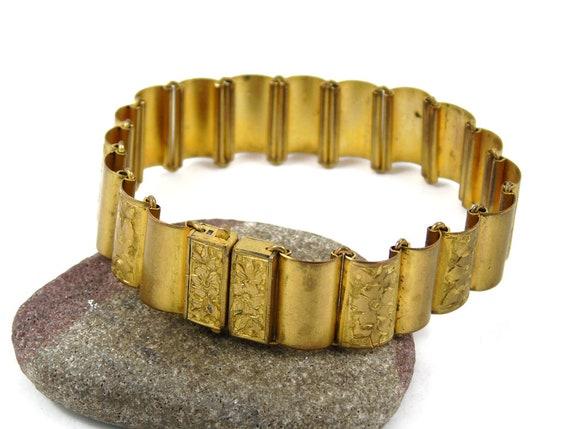 Gilt Bracelet, Panel Bracelet, Link Bracelet, Engr