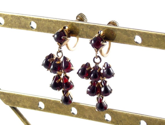 Gold Tone Garnet Earrings, Garnet Grapes Earrings,