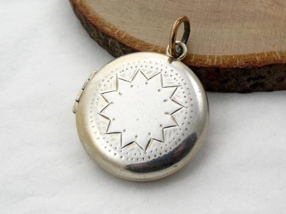 Round Silver Locket, Unusual Geometric Locket, Pho