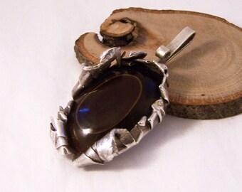 Vintage Semi Precious Silver Pendant,  Agate Pendant, Silver Pendant,  Agate Pendant, Large Pendant