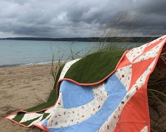 Rifle Paper Company Adventure Quilt / Travel Theme Quilt / Geometric Quilt