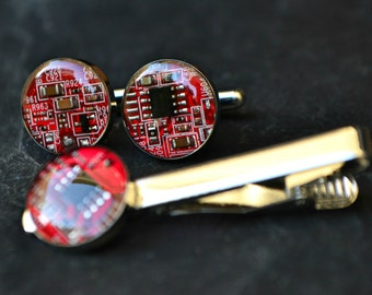 Red Circuit Board Cufflinks, Men's Tie Accessory, Computer Cufflinks Tie Clip Set, Geekery Modern IT Tech Cufflinks