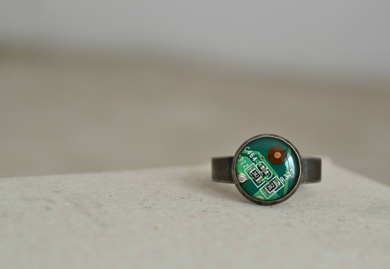 Tiny Circuit Board Ring Geekery Green Computer Jewelry Etsy Necklace Nerd Upcycle Recycle 50