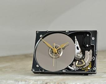 Hard Drive Desk Clock - Geekery Office Clock - Industrial Decor - Desk Office Accessories