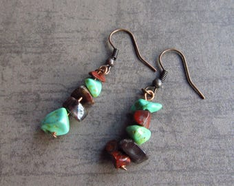 Gemstone earrings Howlite Turquoise Earrings Red Stones Boho Jewelry Dangle Gemstone Chips Earrings