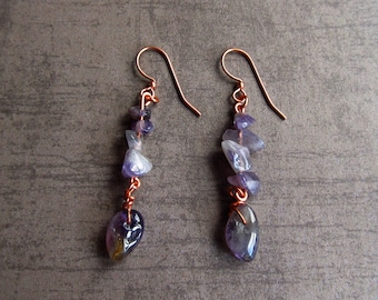 Amethyst Earrings Gemstone Purple Boho Copper Jewellery Dangle Gemstone Chips Bohemian Jewelry