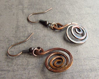 Rustic Copper Earrings Spiral Hoops Bohemian Jewelry Wire Hammered Flame Coloured Hoop Earrings