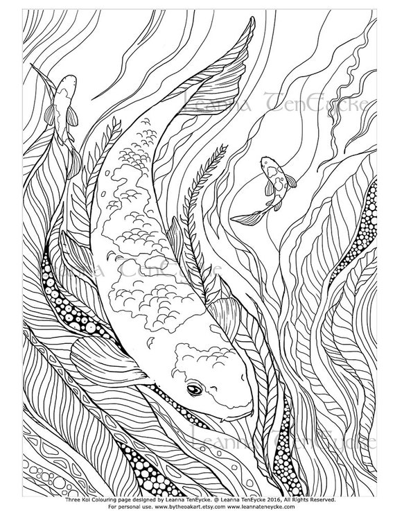 Items similar to Adult Colouring Page Fish Animals Koi ...
