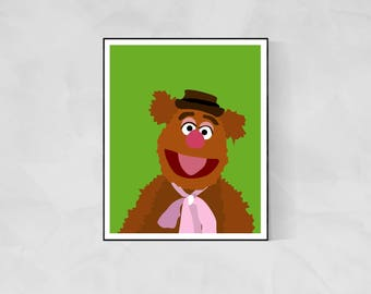 Fozzie Bear Minimalist Poster | The Muppets Muppet Movie Poster Muppet Poster Kermit the Frog Swedish Chef Poster Kermit Poster Gonzo TV