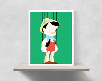 Pinocchio Minimalist Poster | Disney Poster Disney Minimalist Pinocchio Pinocchio Characters Jiminy Cricket Pinocchio Poster Disney Art