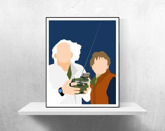 Back to the Future Minimalist Poster | Movie Poster Marty McFly Doc Brown Delorean Back Future Mcfly Flux Capacitor Time Travel Back Future