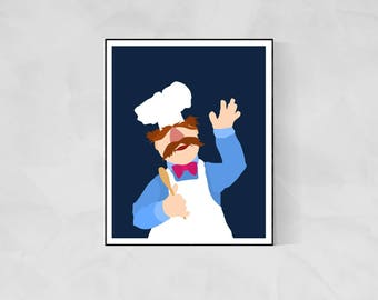 Swedish Chef Minimalist Poster | The Muppets Muppet Movie Poster Muppet Poster Kermit the Frog Swedish Chef Poster Kermit Poster Gonzo TV