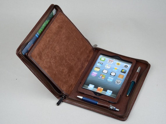 new product 793de 0260c iPad mini Leather Business Portfolio Case with Notepad with iPhone Pockets  for iPad mini Carrying for conference Junior A5 Paper