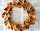 Extra Large 20 quot Size - Autumn Felt Leaf Wreath - Simple Fall Wreath - Thanksgiving Decor - Made to Order
