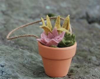 Tiny Faux Succulents in a Clay Pot - Felt Christmas Ornament - Potted Air Plant - Teacher Gift - Hostess Gift