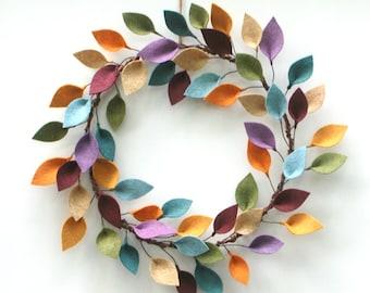 """Modern Felt Leaf Wreath - Year Round Wreath - All Season Felt Wreath - 18"""" Outside Diameter - Made to Order"""