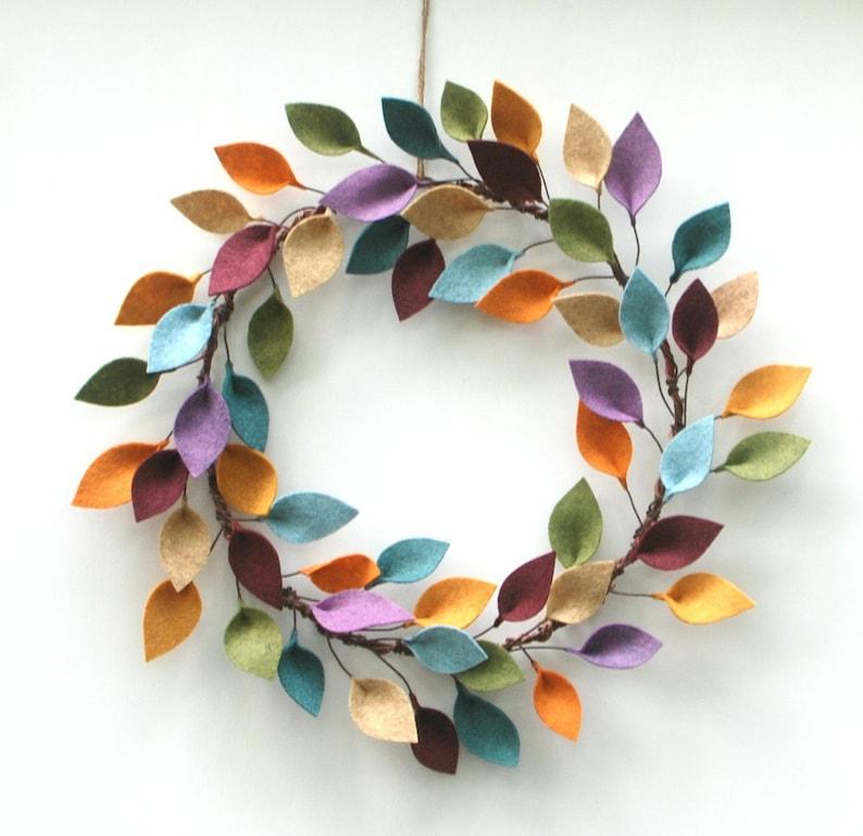 Minimalist Fall Wreath  Autumn Wool Felt Leaf Wreath  image 0