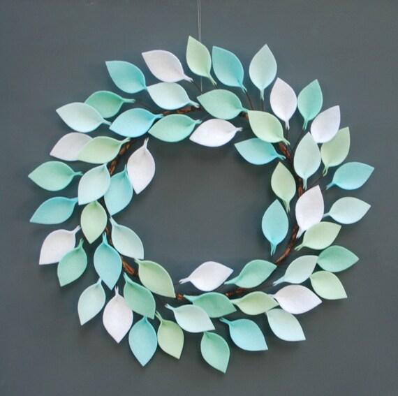 Felt Leaf Wreath in Aqua, Mint, and White Modern Wreath 20