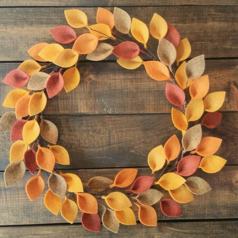 Made to Order Thanksgiving Decor 12 Autumn Felt Leaf Wreath Fall Leaves Wreath Simple Wreath for Fall
