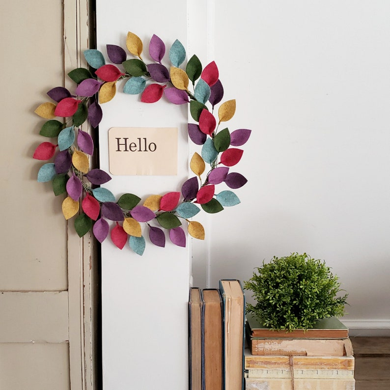Made to Order 20 Outside Diameter Purple Green and Blue Extra Large Spring or Summer Wool Felt Leaf Wreath in Pink Summer Wreath