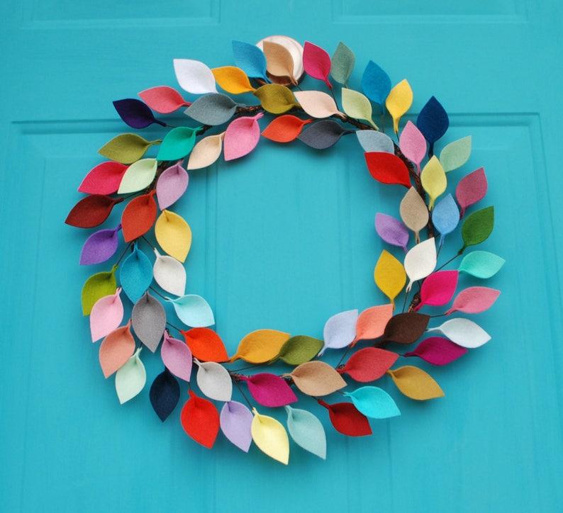 Modern Rainbow Door Wreath / Bright Everyday Wreath for Front