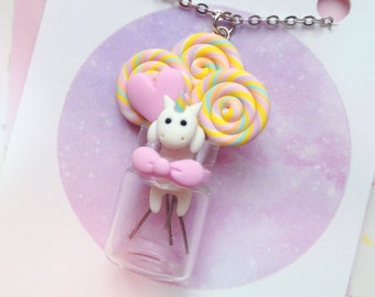 Unicorn in a Candy Jar - polymer clay necklace