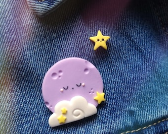 Sleepy moon and star brooch set