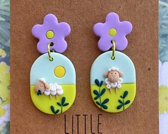 Sheep Theme Clay Earrings | Polymer Clay Jewelry | Handmade Earrings