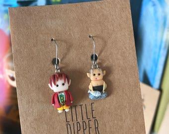"""Bilbo Baggins and Gollum handmade earrings - inspired """"The Hobbit"""""""