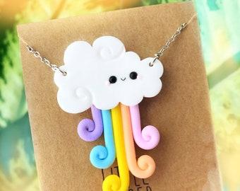 Cute Kawaii Rainbow Cloud - Handmade polymer clay jewelry