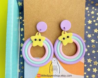 Kawaii Star Pastel Colors Hoop Earrings | Pastel Rainbow Hoop Earrings | Clay Earrings
